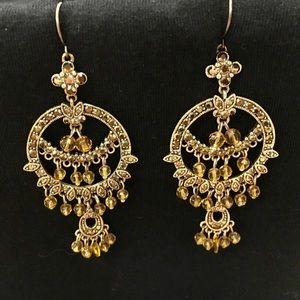 VINTAGE SIGNED MONET EARRINGS PIERCED DANGLE GOLD